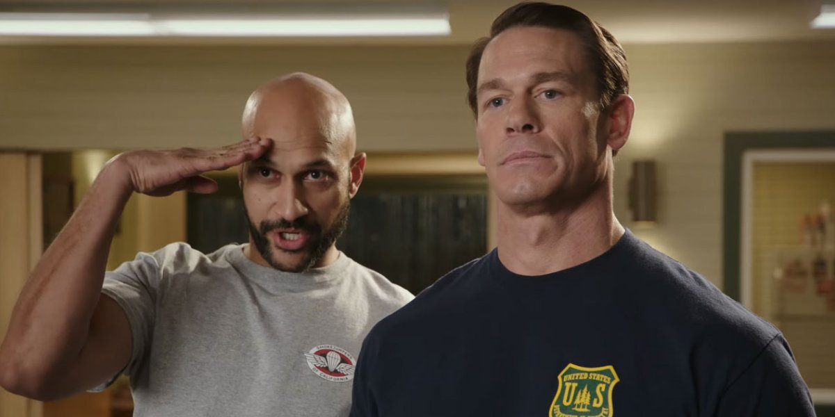 Playing With Fire Keegan-Michael Key and John Cena stand authoritatively