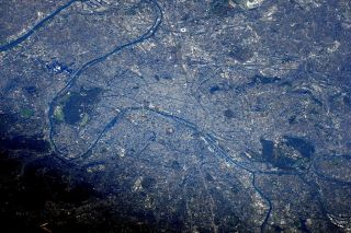 A space-station eye view of the city of Paris