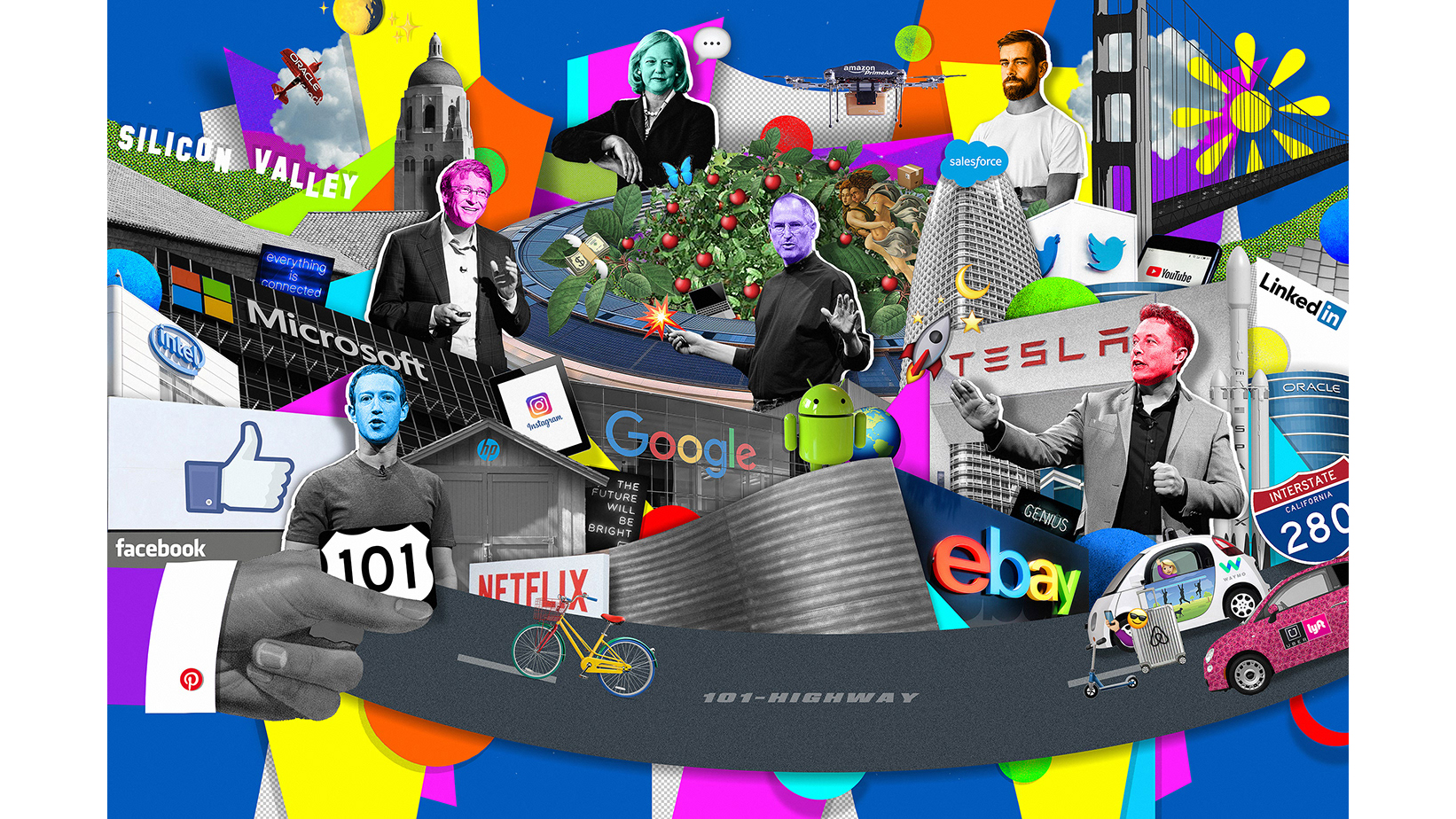 Collage piece depicting Silicon Valley