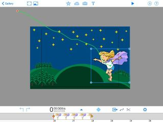 Screenshot: Animation & Drawing by Do Ink: Chile wearing cape flies under night stars