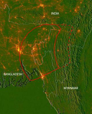 fault zone beneath Bangladesh