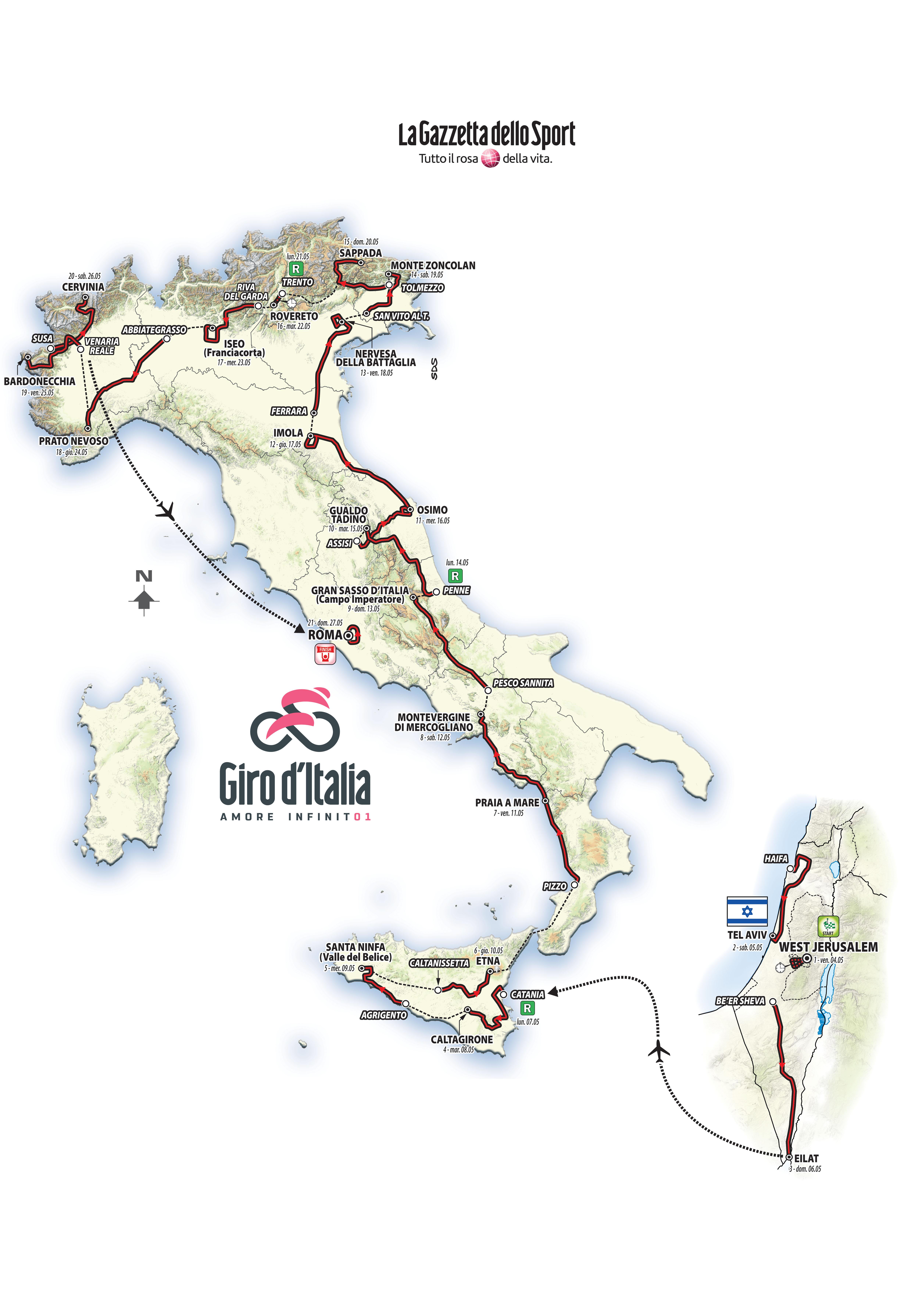 hienoin valinta erittäin suosittu tehdasmyymälät 2018 Giro d'Italia route revealed | Cyclingnews