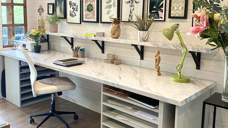 DIY desk ideas for an art studio with a marble effect worktop and built in storage