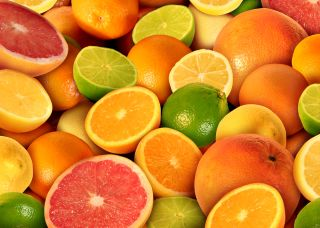 Citrus fruits, oranges, lemons, grapefruit, limes
