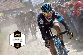 Bradley Wiggins (Team Sky) on the attack at Paris-Roubaix