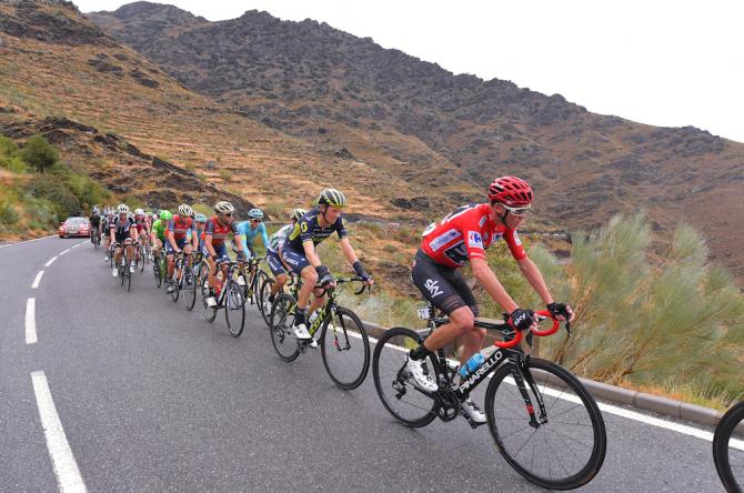 Chris Froome in the pack on stage 11 of the Vuelta a España