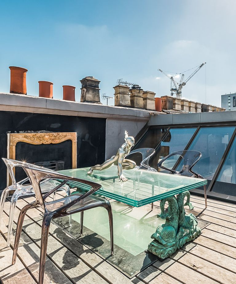 Cool London Airbnb for rent, terrace of a penthouse with views over Bloomsbury