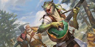 lizardman playing a lute fantasy setting