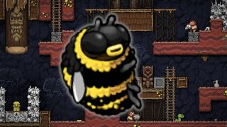 A big bumblebee layered over a spelunky cavern