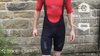 A picture showing the front of the Spatzwear Convoy Cargo bib shorts while worn