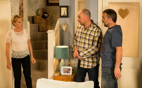 Sally Webster with new love Tim Metcalfe and ex-husband Kevin Webster in Corrie