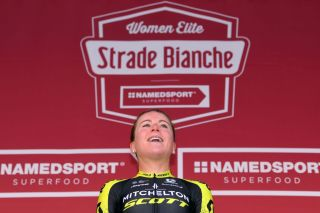 SIENA ITALY MARCH 09 Podium Annemiek van Vleuten of The Netherlands and Team Mitchelton Scott Celebration during the 5th Strade Bianche 2019 Women a 136km race from Siena to Siena Piazza del Campo StradeBianche Eroica on March 09 2019 in Siena Italy Photo by Luc ClaessenGetty Images