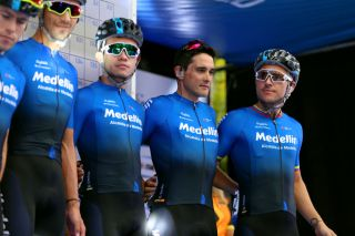 VILLASANAGUSTIN ARGENTINA JANUARY 29 Start Weimar A Roldan of Colombiaand Team Medellin Oscar M Sevilla of Spain and Team Medellin Walter A Vargas of Colombia and Team Medellin Brayan S Sanchez of Colombia and Team Medellin Team Presentation during the 38th Vuelta a San Juan International 2020 Stage 4 a 1858km stage from San Jos de Jchal to Valle Frtil Villa San Agustn 894m vueltasanjuanok VueltaSJ on January 29 2020 in Villa San Agustn Argentina Photo by Maximiliano BlancoGetty Images