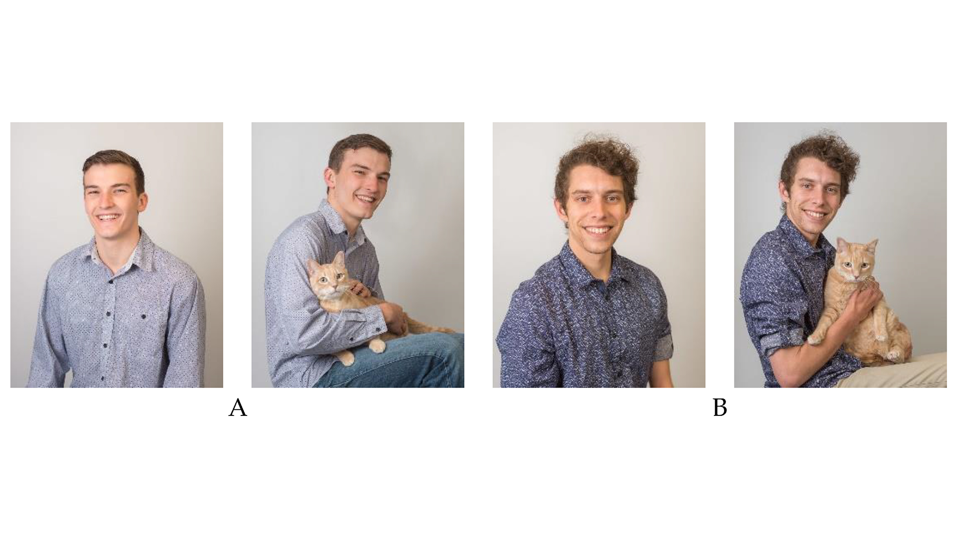 """""""Male 1"""" and """"Male 2"""" were evaluated in photos with and without cats."""