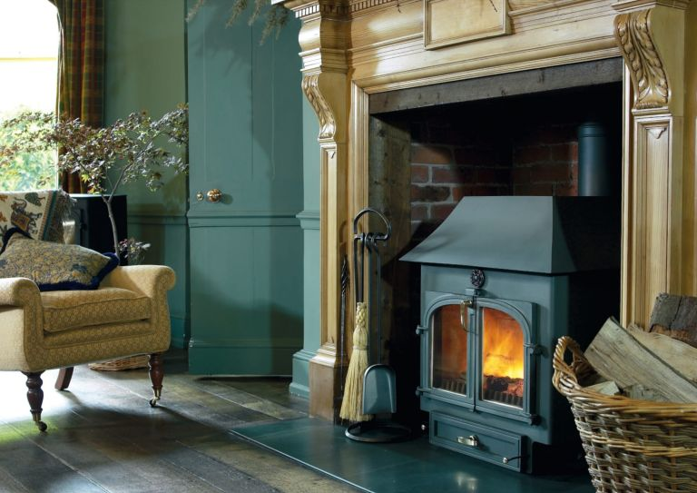 fireplace with wood burning stove in period home