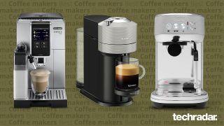 Delonghi Dinamica Plus, Nespresso Vertuo Next, Breville Bambino Plus on a green background