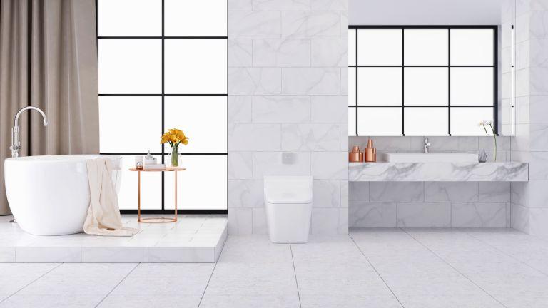 clean tile floor in monochrome bathroom