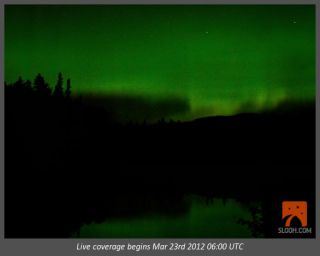 A still image of what the aurora show will look like through the Slooh Space Camera during the live webcast.