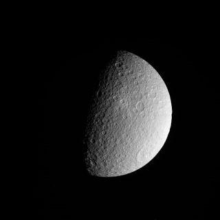 Cassini photo of Saturn moon Rhea