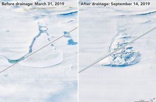 Changes in the ice surface of the Amery Ice Shelf in Antarctica reveal the rapid draining of a lake deep below in 2019.