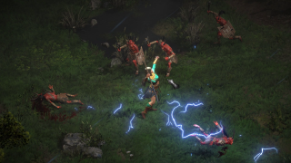 A Diablo 2 sorceress using lightning magic.