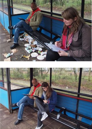 White travellers who were asked to fill out a questionaire in an orderly train station generally sat close to a Dutch-African person, compared to when they were asked in a messy train station.
