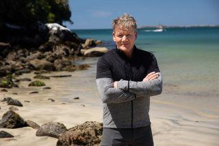 Gordon Ramsay on a New Zealand beach