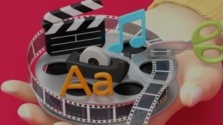 Best video editing apps: Cartoon showing hand holding film reel, clapperboard and sticky tape