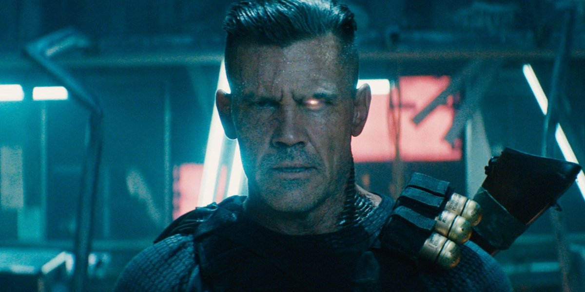 Deadpool 2 Josh Brolin stares at the camera with a glowing eye