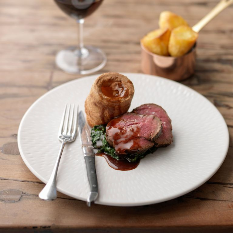Treacle cured beef with yorkshire pud photo