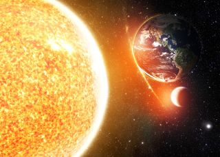 Planet Earth with the sun and moon.