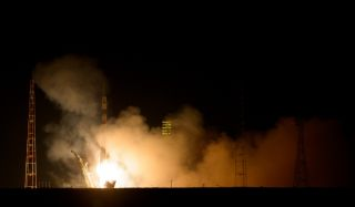 A Russian Soyuz rocket launches a Soyuz TMA-12M capsule carrying NASA astronaut Steve Swanson and cosmonauts Alexander Skvortsov and Oleg Artemyev toward the International Space Station on March 25, 2014 EDT from Baikonur Cosmodrome, Kazakhstan.