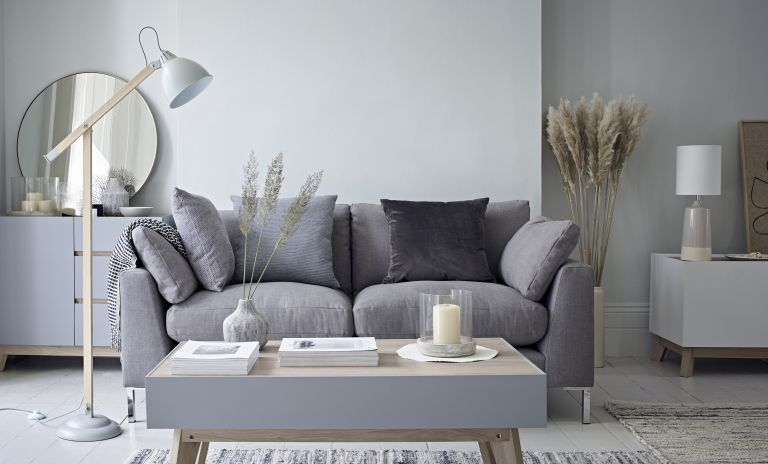M&S lighting: contemporary grey living room