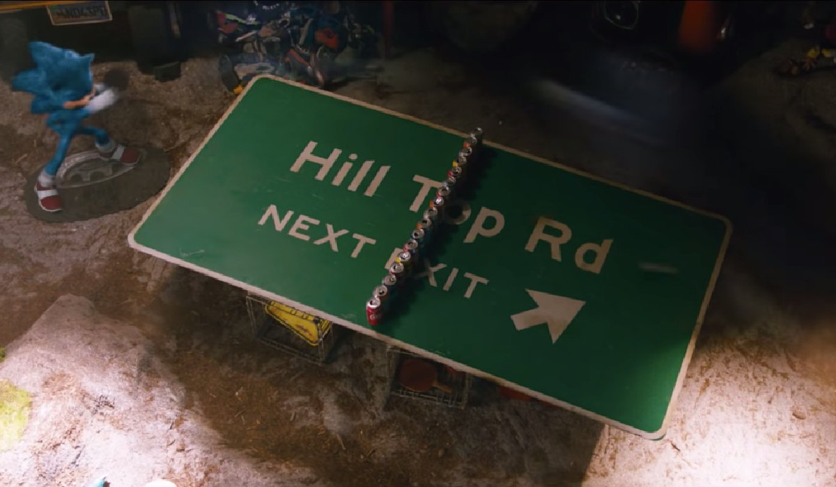 Sonic The Hedgehog ping pong on the Hill Top Road sign