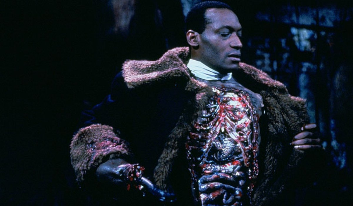 Candyman Tony Todd exposes his open chest and organs