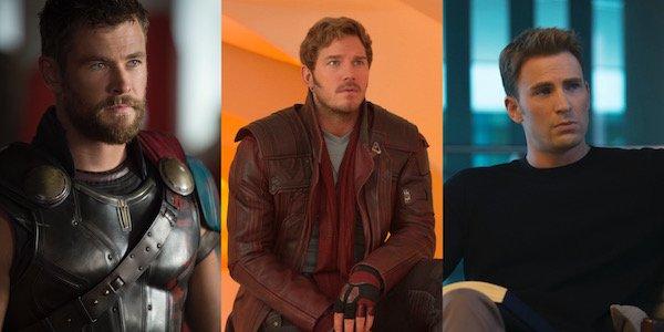 Chris Hemsworth, Chris Pratt and Chris Evans in Marvel movies