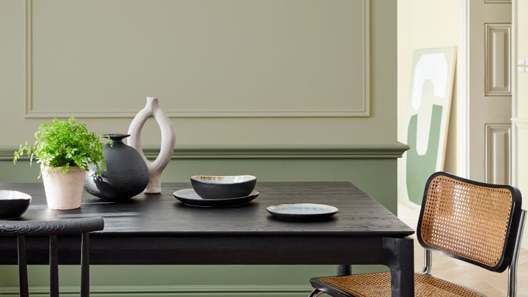 Dining room in green and beige shades by LIttle Greene
