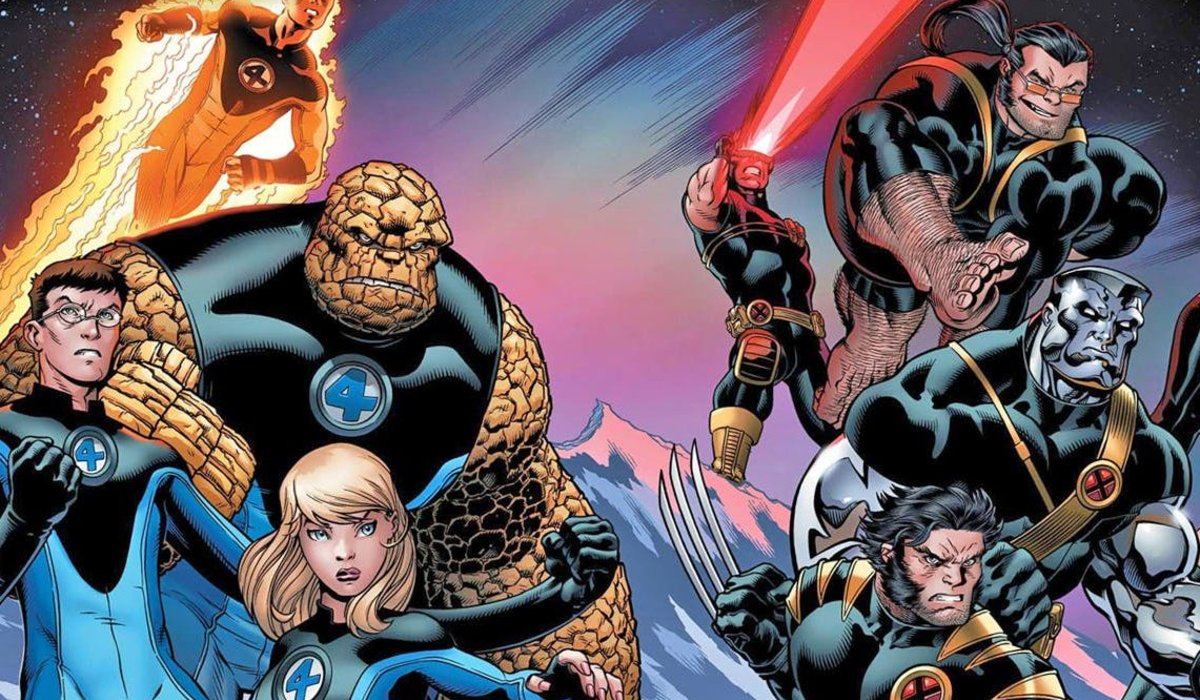 Fantastic Four and X-Men members in battle, side by side