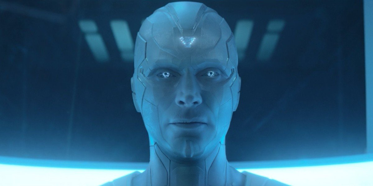 White Vision (Paul Bettany) is activated on WandaVision (2021)