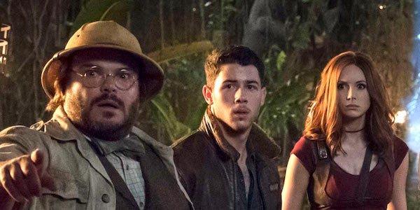 Jack Black, Nick Jonas, and Karen Gillan in Welcome to the Jungle