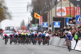 KUURNE BELGIUM MARCH 01 Arrival Kasper Asgreen of Denmark and Team DeceuninckQuickstep Peloton during the 72nd KuurneBrusselKuurne 2020 a 201km race from Kuurne to Kuurne KBK20 KuurneBxlKuurne KBK on March 01 2020 in Kuurne Belgium Photo by Tim de WaeleGetty Images