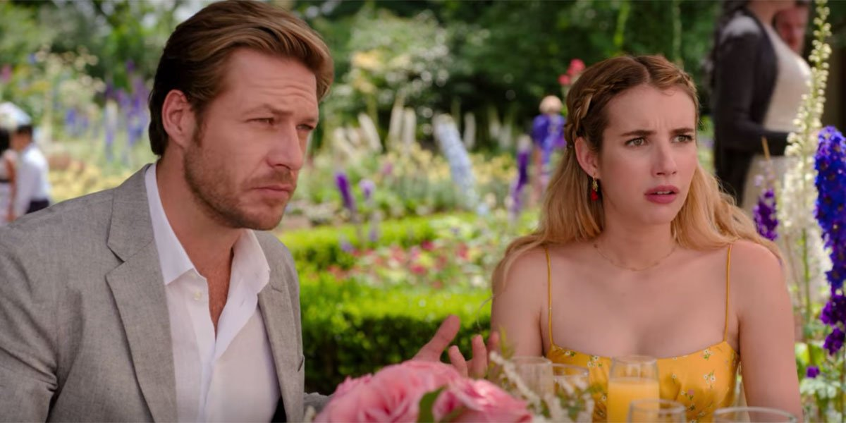 Emma Roberts and Luke Bracey in Holidate screenshot