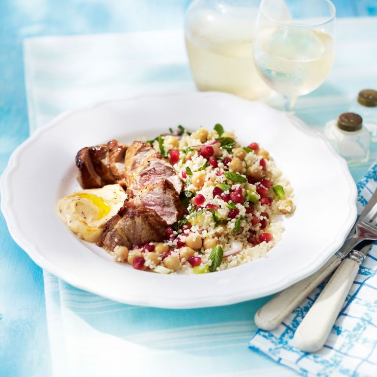 Lamb Fillet with Chickpea and Pomegranate Couscous-Summer food-salad-woman and home