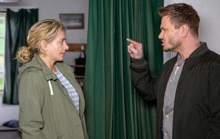 David Metcalfe and Maya Stepney argue in Emmerdale