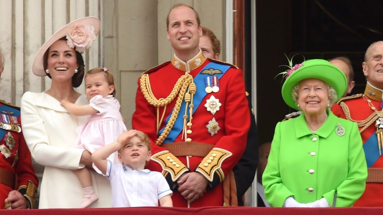 Catherine, Duchess of Cambridge, Princess Charlotte, Prince George, Prince William, Duke of Cambridge and Queen Elizabeth II attend the Trooping the Colour
