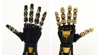 A robotic hand with intrinsically stretchable rubbery sensors.