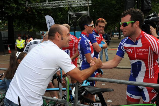 Paolo Bettini and Mark Cavendish, London-Surrey Cycle Classic 2011