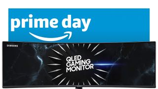 Samsung CRG9 gaming monitor on a blue background with Amazon Prime Day logo