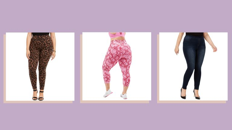 three of w&h's best plus size leggings picks on a lilac background