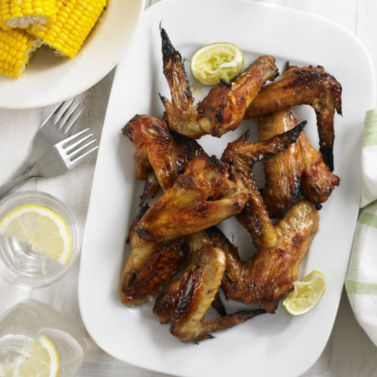 Maple and cayenne chicken wings with corn on the cob recipe-recipes-recipe ideas-woman and home